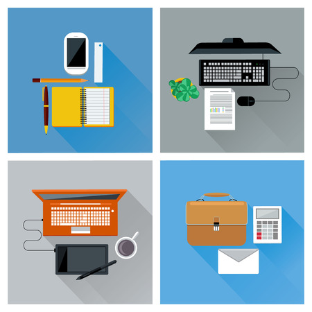 bovenaanzicht plant: Bovenaanzicht van de werkplek met smartphone, laptop, computer, digitale pen, tablet pc, en briefpapier icon set in het platte ontwerp