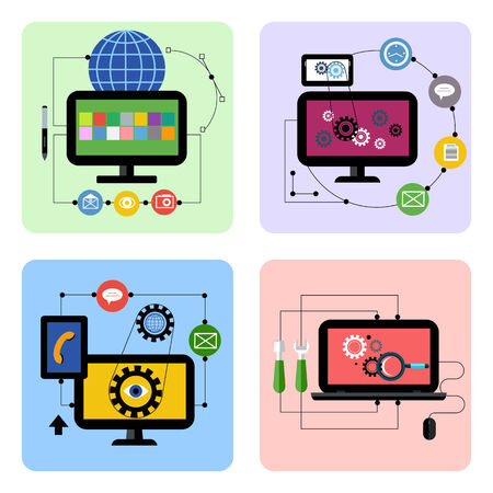monitor: Business concept icon set for graphic design, web application, social media and optimization in flat design