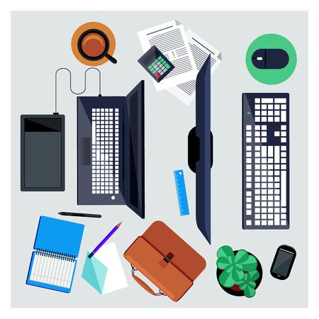 bovenaanzicht plant: Business concept voor bovenaanzicht van de werkplek van twee kantoormedewerkers, business team met de computer, laptop, digitale tablet en kantoor object in platte ontwerp