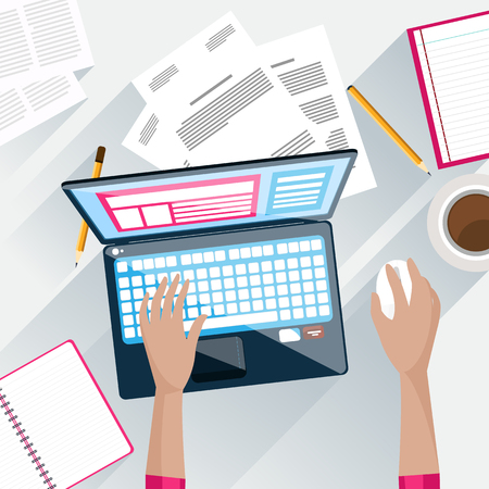 typing on laptop: Top view of working on laptop businessman on workplace with documents flat design