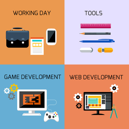 workday: Icon set of tools for game development, website building, business and office in flat design
