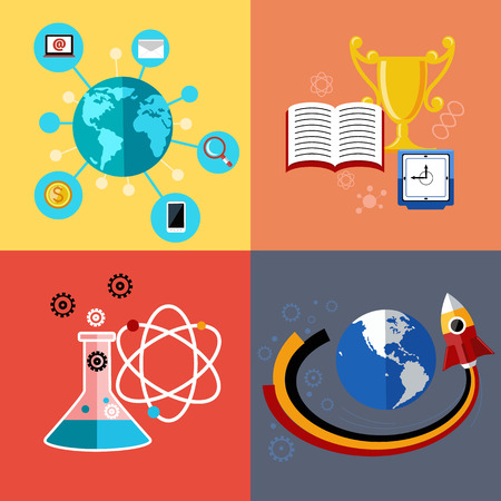 e learning: Flat design concept for education, science research, web application for e learning, learn to think