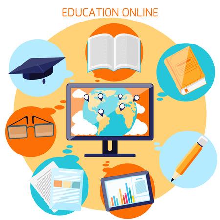 オンライン教育、e ラーニング、および距離フラットなデザインの世界と教育のアイコンにポインターを持つ専門的な訓練のための概念