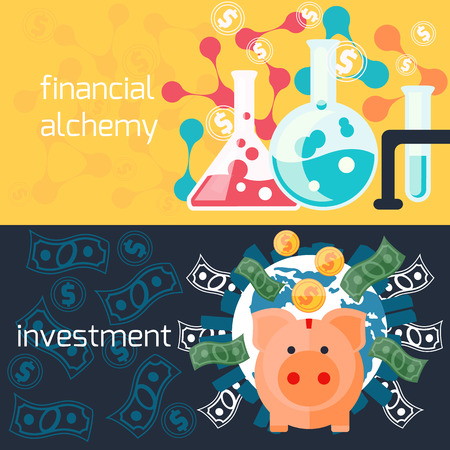 Concept of generating money in laboratory with alchemy experiments and global investment with piggy in flat design Illustration