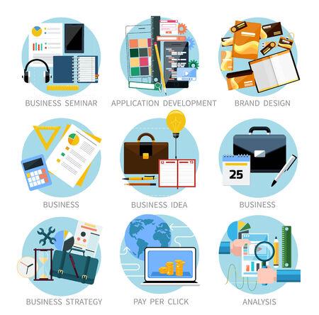 marca libros: Iconos de establecen las banderas para el desarrollo applocation, seminario de negocios, estrategia de negocio, pago por clic, diseño de marca, idea de negocio, desarrollo de adaptación, el análisis de diseño plano Vectores