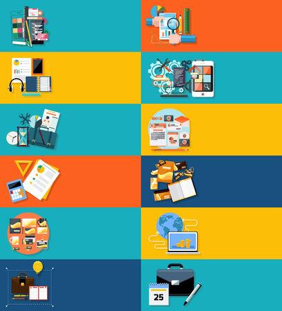 아이콘 플랫 디자인 applocation 개발, 비즈니스 세미나, 비즈니스 전략, 클릭당 지불, 브랜드 디자인, 사업 아이디어, 적응 개발, 분석을위한 배너를 설정 일러스트