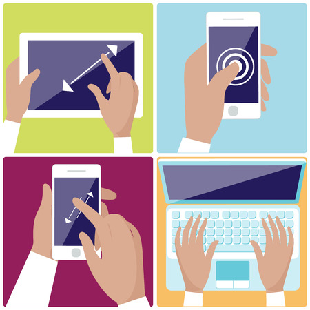 multitouch: Flat design icon set with hands typing on keyboard of laptop,  hold smartphone showing some of multitouch gestures in flat design Illustration