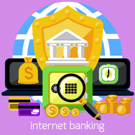 Business concept for online banking, finance investment, security deposit, deposit interest with laptops, safe and shield in flat design