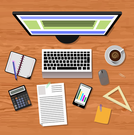 digital tablet: Top view of business people workplace with laptop, digital tablet, smartphone and different office elements