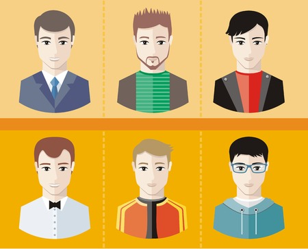 young businessman: Set of stylish young man avatars or userpics different profession and lifestyle in flat design Illustration