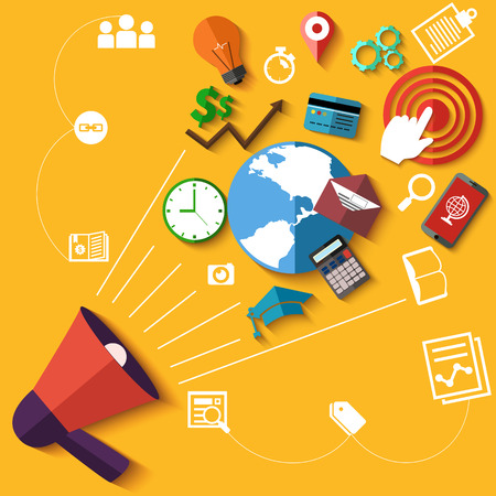 Flat design digital marketing concept with megaphone and web application, business, education icons on yellow background
