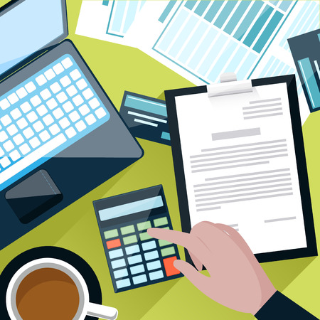 calculator: Top view of office desk with laptop, documents and working with calculator businessman in flat design