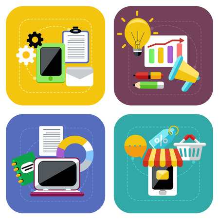 Concept icon set in flat design for internet marketing and ecommerce and online shopping on colorful backgrounds isolated on white Vector