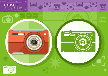 Gadgets series with two digital cameras in circle frames color and colorless variant on green with devices silhouettes background