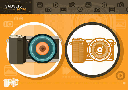 Gadgets series with two digital cameras in circle frames color and colorless variant on orange with devices silhouettes background