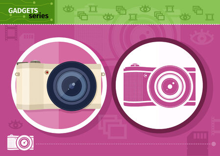 Gadgets series with two digital cameras in circle frames color and colorless variant on lilac with devices silhouettes background