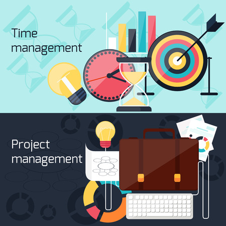 timing: Business concept in flat design for project and time management with idea, timing and business symbols