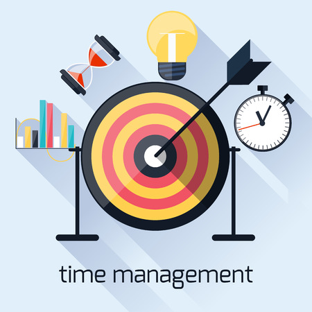 project deadline: Flat design concept with target and arrow for time management, targeting, work planning and timing with long shadows