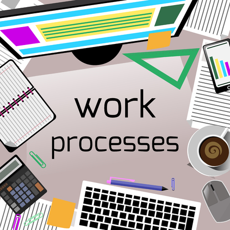 Work process concept with top view of office desk with keyboard, calculator, stationery and personal accessories of businessman Vector