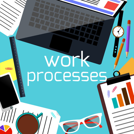 Work process concept with top view of office desk with laptop, smartphone, stationery and personal accessories of businessman Vector