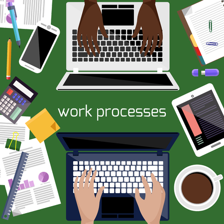 personal accessories: Work process concept with top view of office desk with laptop, smartphone, stationery and personal accessories of businessman. Two man work on laptop Illustration