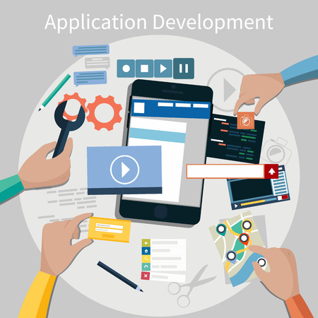 Concept for mobile application development, teamwork, brainstorm, cooperation with hands working on a smartphone navigation, screen interface, social media,  services Illustration