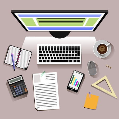 personal accessories: Concept with top view of office desk with keyboard, phone, personal accessories of student. Flat design modern concept of creative workplace. Monitor shines on the table
