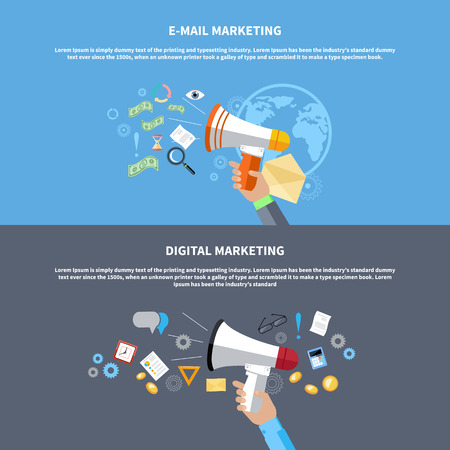 advertising sign: Digital marketing concept. Human hand holding megaphone surrounded by media icons. Flat design stylish megaphone with application icons
