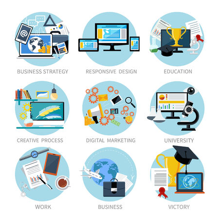 Icons set banners for business strategy, responsive design, education, creative process, digital marketing, university, victory in flat design