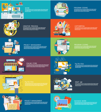 gestion empresarial: Iconos de establecen las banderas para el trabajo empresarial, proceso creativo, la codificaci�n del programa, pago por clic, tienda en l�nea, redacci�n, puesta en marcha y gesti�n de proyectos en dise�o plano