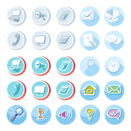 electronic mail: Electronic device icons in cartoon style. Devices include set of communication icons megaphone computer laptop smartphone data information calling monitor and calculator