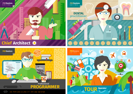 tour operator: Professions concept with female travel agent, engineer architect constructor worker, dentist in uniform, male computer programmer flat design