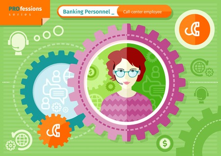 callcenter: Profession series concept for banking personnel with beautiful woman call-center employee in glasses and headset in circle frame on green with communication pictograms background