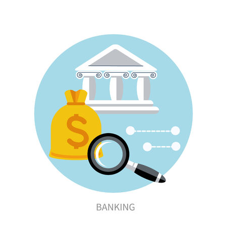 banking concept: Bank office symbol with sack dollars and magnifying glass icon. Banking concept Illustration