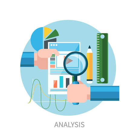 magnifying glass man: Hands hold web site tablet PC with graphs. Market analysis flat design