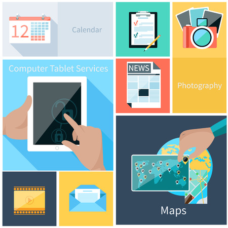 digital news: Concept for web application and computer services for tablet with user hand unblocking digital tablet and calendar, news, maps, photography, email icons