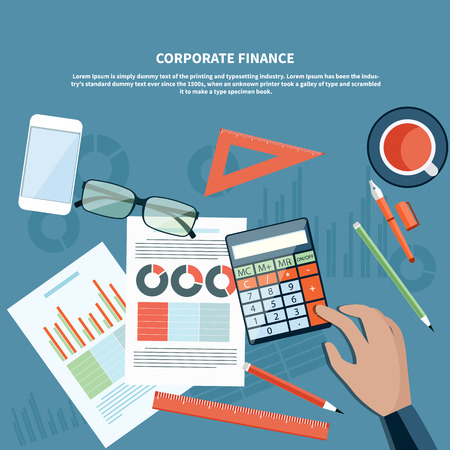 calculator money: Concept of corporate finance, business management, financial planning with top view of office desk, calculator, smartphone, financial documents and businessman hand
