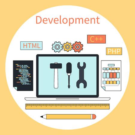 programing: Concepto de dise�o plano para el desarrollo web con la computadora port�til, herramientas, c�digo programando en el marco del c�rculo sobre fondo amarillo Vectores