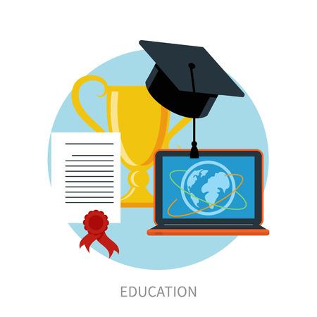 educaci�n en l�nea: Concepto para la educaci�n en l�nea, e-learning y la formaci�n profesional a distancia con los punteros en el globo y educaci�n iconos de dise�o plano