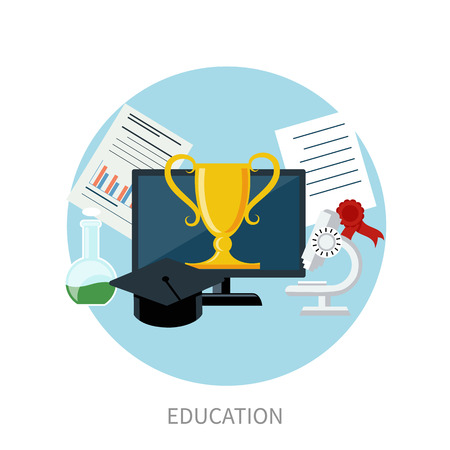 e learning: Concept for online education, e learning, and distance professional training with pointers on globe and education icons in flat design Illustration