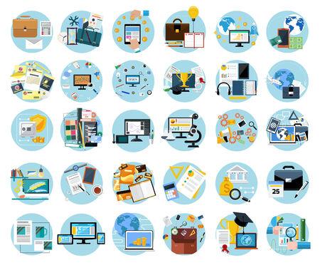 아이콘 플랫 디자인 비즈니스 작업, 모바일 결제, 클릭 당 지불, 브랜드 디자인, 창작 과정, 금융, 분석을위한 배너를 설정