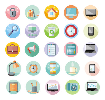 Set of round icons for office and time management with digital devices and office objects on white background Vector