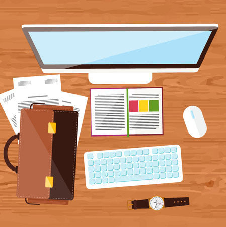 personal accessories: Concept with top view of office desk with keyboard, briefcase, stationery and personal accessories of businessman. Flat design modern concept of creative office workplace