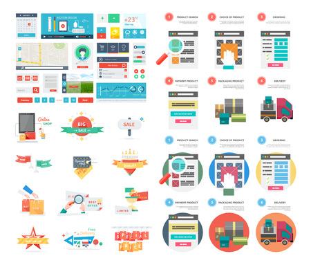Internet-Shopping-Prozess und Lieferung. Plakat-Konzept mit Symbolen f�r den Kauf Produkt via Online-Shop und E-Commerce-Ideen Symbol und Einkaufsm�glichkeiten. Eine Seite Website Flach ui ux und Kit-Elemente Symbole