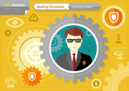 Profession series concept for banking personnel with serious man security guard in black suit uniform and sunglasses in circle frame on yellow with security icons background Illustration