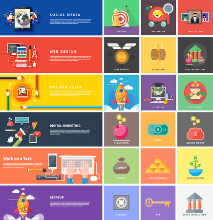 mind set: Icons for cash transactions, headwork, strategy planning, business tools start up observation creative team mind mapping brainstorm e-learning time is money. Concept of different icons in flat design