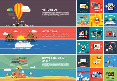 Pictogrammen voor webdesign, seo, social media en pay per click reclame op het internet en pictogrammen instellen van reizen, het plannen van een zomervakantie in platte ontwerp
