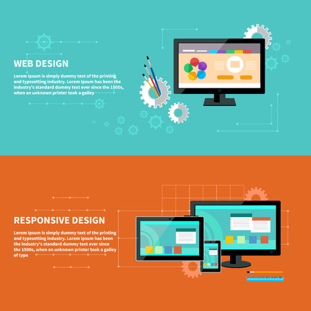 Concept for web design with computer and design tools and software and for responsive web design as seen on desktop monitor, tablet and smartphone Vector