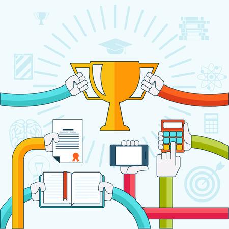 digital tablet: Concept for online, distance education, personal development with hands holding digital tablet, diploma, calculator and golden trophy Illustration