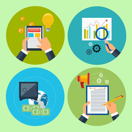 optimize: Flat modern illustration of management anf commerce set. Hands with financial item icons